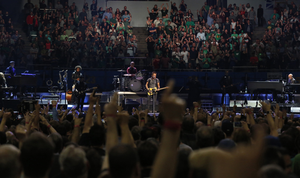 Bruce Springsteen and The E Street Band perform during The River Tour at the LA Memorial Sports Arena in Los Angeles, California March 17, 2016.