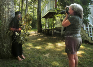 CAMDEN, ME - AUGUST 11: Pattie Rowe makes a photo of model Carol Fritsche in Camden on Thursday, August 11, 2016. Rowe was a student in a Maine Media Workshops portraiture class taught by Joyce Tenneson. (Photo by Gregory Rec/Staff Photographer)