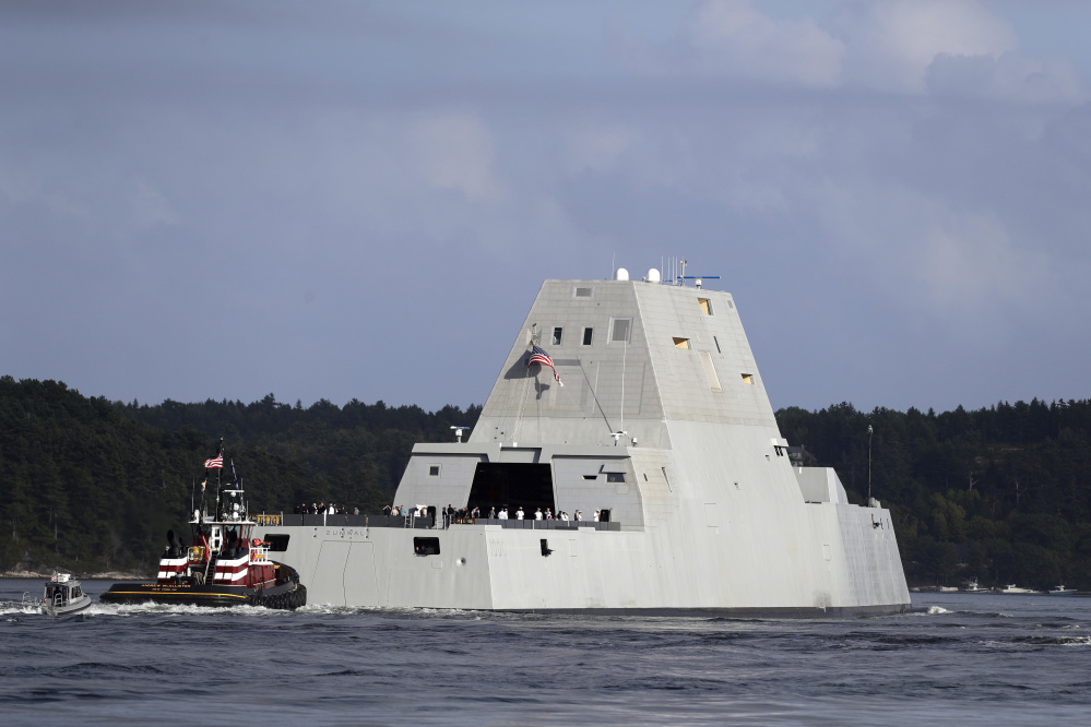 The Navy's Zumwalt destroyer heads down the Kennebec River on Sept. 9, 2016.  <em>Associated Press/Robert F. Bukaty</em>