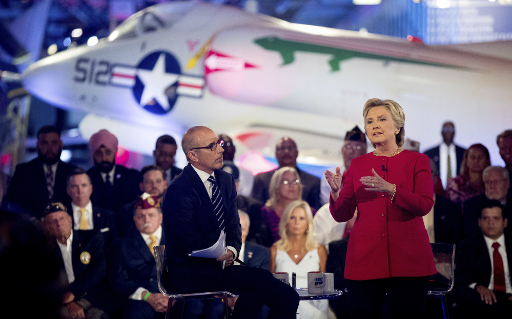 Hillary Clinton speaks at Wednesday's NBC Commander-In-Chief Forum held at the Intrepid Sea, Air and Space museum in New York. Topics including defense spending and intelligence gathering were ignored at the presidential forum in favor of questions on Clinton's correspondence.