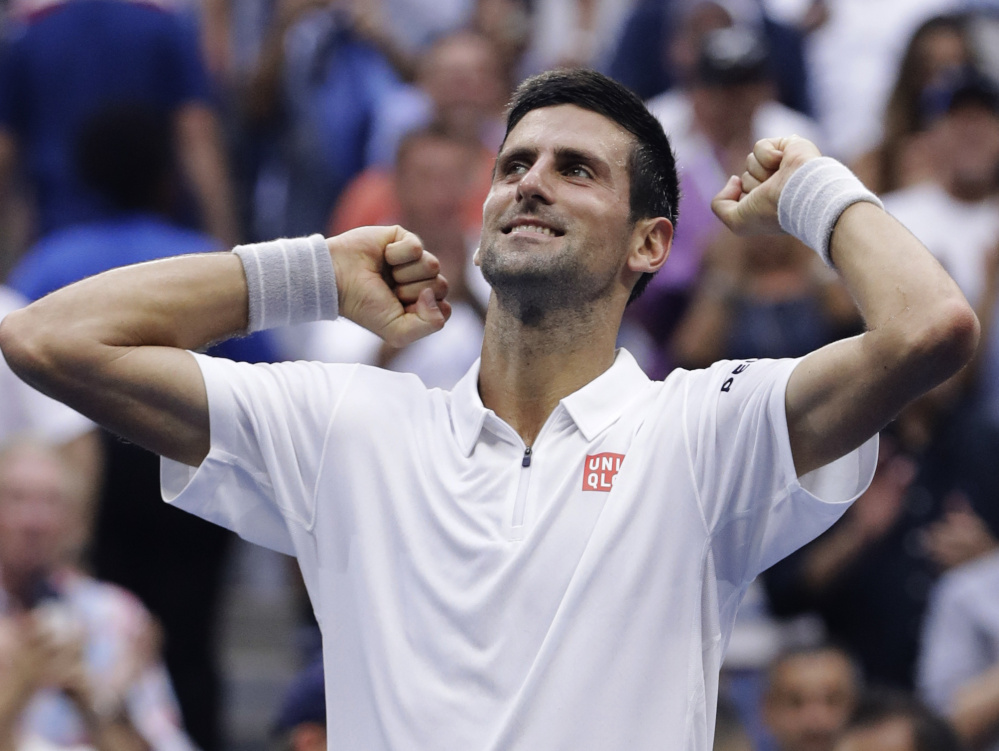 Novak Djokovic was caught off-guard by some of Gael Monfils' tactics Friday but still prevailed in four sets, and is one victory away from his third U.S. Open championship.
