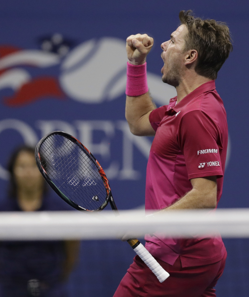 Stan Wawrinka reacts after winning the third set against Kei Nishikori in their semifinal match at the U.S. Open. Wawrinka has a 4-19 record against Novak Djokovic, his opponent in the final.