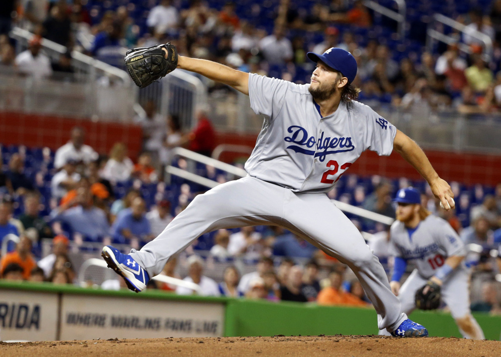 Clayton Kershaw of the Dodgers threw 66 pitches in three innings Friday night in his first start since June 26 because of a back injury. Los Angeles lost to the Marlins, 4-1.