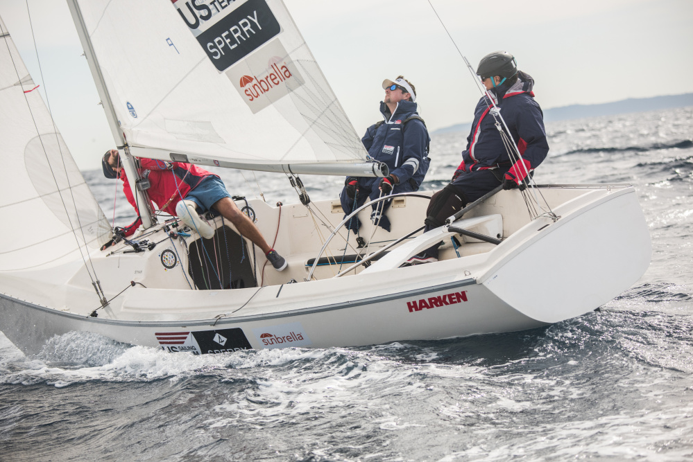 Team USA One training before the Sailing World Cup in Hyeres, France 2016. Left to right are Hugh Freund (in red), Brad Kendell (white visor) and Rick Doerr.