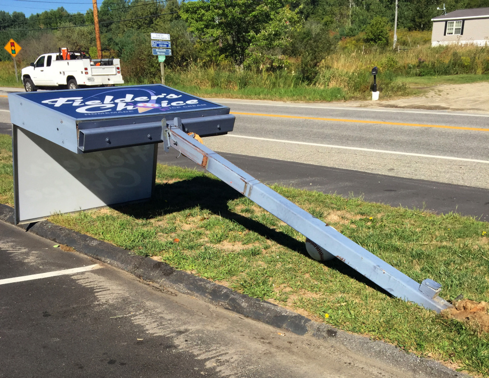 At Fielder's Choice ice cream parlor in Sabattus, the stolen front-end loader knocked down a 6-by-4-foot lighted sign on a three-quarter-inch thick steel post.