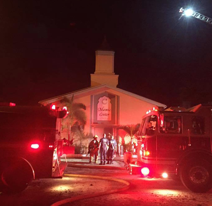 Police say there is video evidence showing somebody approaching the Islamic Center of Fort Pierce and starting the building ablaze early Monday morning.