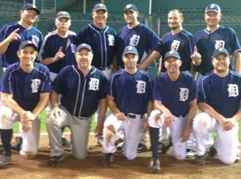 The Tigers won the Southern Maine Men's Baseball League's 35-plus championship with a 6-5, 10-inning victory in the final game. Team members, from left to right: Front row – Pete Faris, Jay Villani, Brian Marden, Anthony Ragucci and Greg Frizzle; Back row – Mark Rand, Larry Murphy, Coach Jake Birks, Bird Carlson, Dan Michaud and Joel Chretien; Absent – John Carriero, Dean Gilbert amd Mike Fullerton.