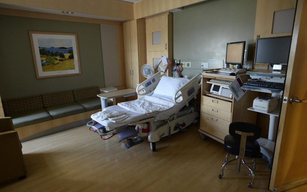 A room in the maternity ward is one of Maine Medical Center's newer larger rooms.
