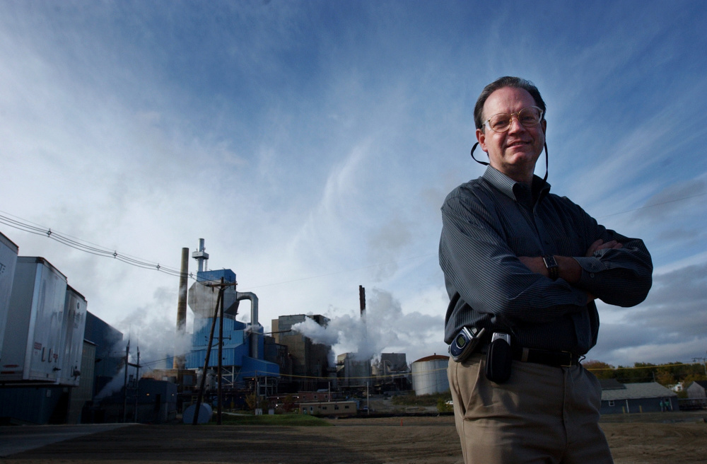 Keith Van Scotter, then president and CEO, stands outside the Lincoln Paper and Tissue mill in 2005. He declined to comment Thursday on a lawsuit filed against former board members.