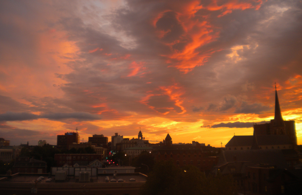 There wasn't any smoke on the water but there sure seemed to be fire in the sky when Jeannine Sullivan took this stirring photo of a late summer sunset from Portland's Munjoy Hill.