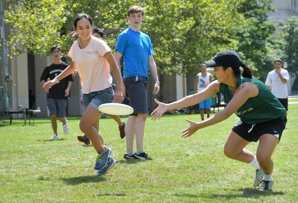 Engineering student Priscilla Chung, above left, and Annette Chen, an informations systems major, play ultimate Frisbee at Carnegie Mellon University. Jelena Kovacevic, left, heads the electrical and computer engineering department at the Pittsburgh school, where 36 percent of the engineering undergraduates are women.