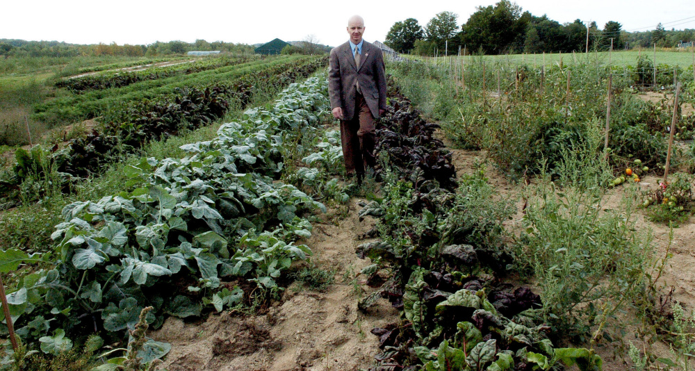 Waldo County Sheriff's Office Jail Administrator Ray Porter walks through one of the huge vegetable gardens at the Maine Coastal Regional Reentry Center farm in Swanville.