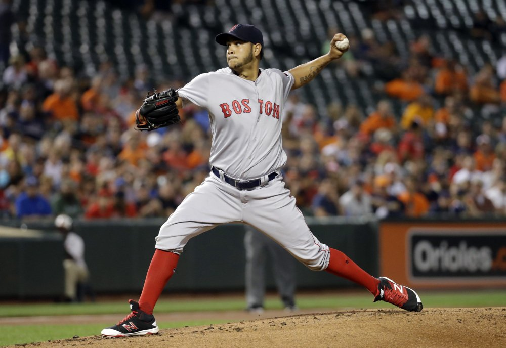 Red Sox starting pitcher Eduardo Rodriguez throws in the first inning Tuesday night in Baltimore. He pitched into the seventh inning and picked up the win.