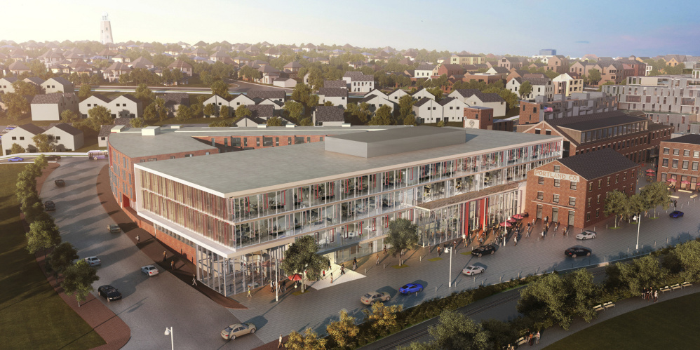 New buildings for housing, offices and other uses would be built around historic brick buildings at the former Portland Co. complex. Rendering by Perkins+Will of Boston