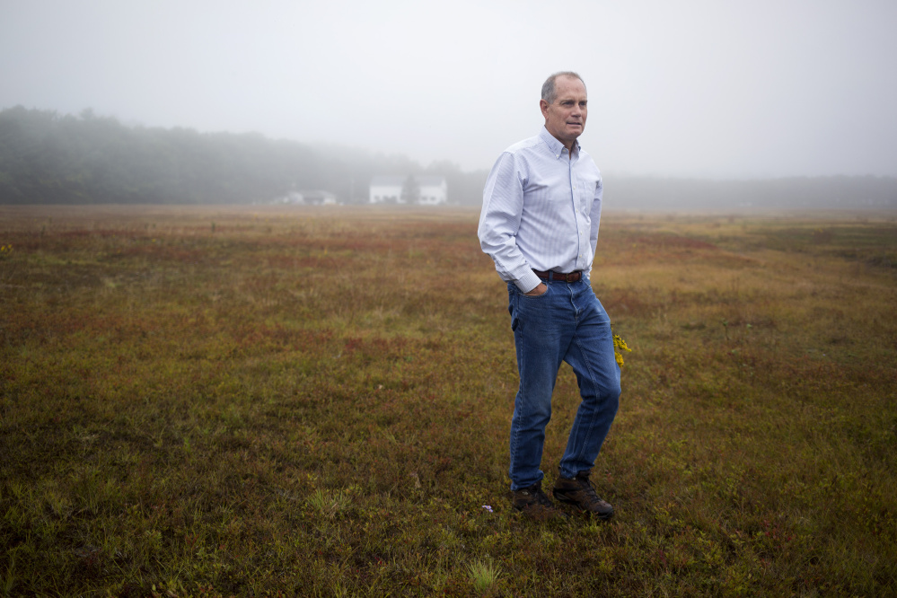 Jon Hill walks in his family's blueberry field in Brunswick. The property has been in the family for 80 years.