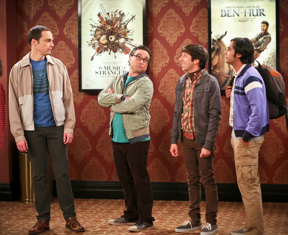 Jim Parsons, from left, Johnny Galecki, Simon Helberg and Kunal Nayyar appear in a scene from