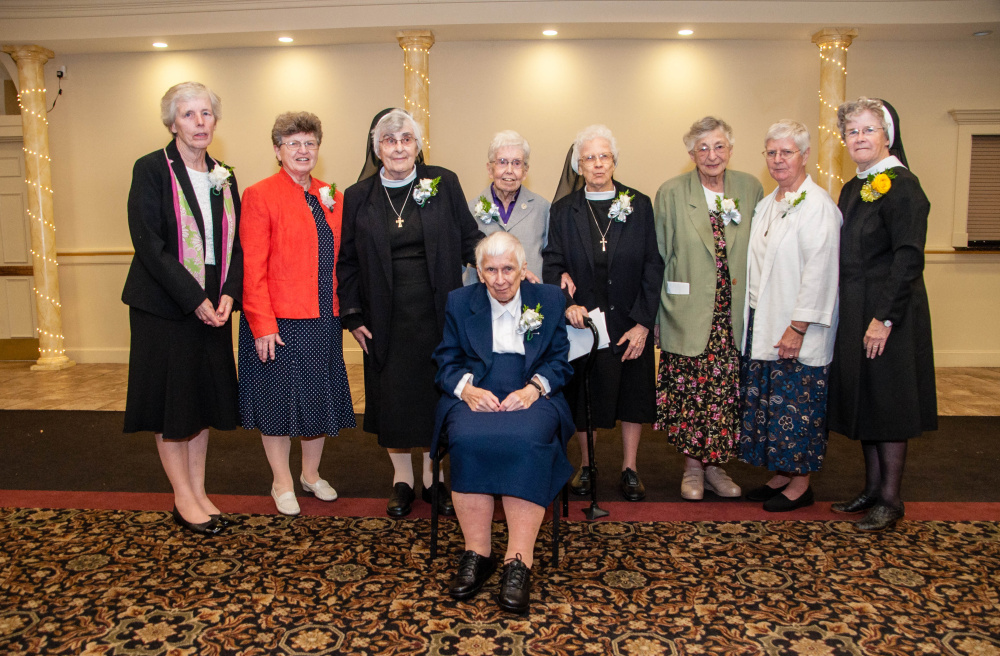Sisters of Mercy celebrated nearly 600 years of combined service to the people of Maine during a recent gathering honoring their jubilees this year. Pictured are (seated) Sister Anastasia Skwara, (standing, from left) Sister Barbara Brennan, Sister Miriam Therese Callnan, Sister Mary Gemma Connelly, Sister Elizabeth