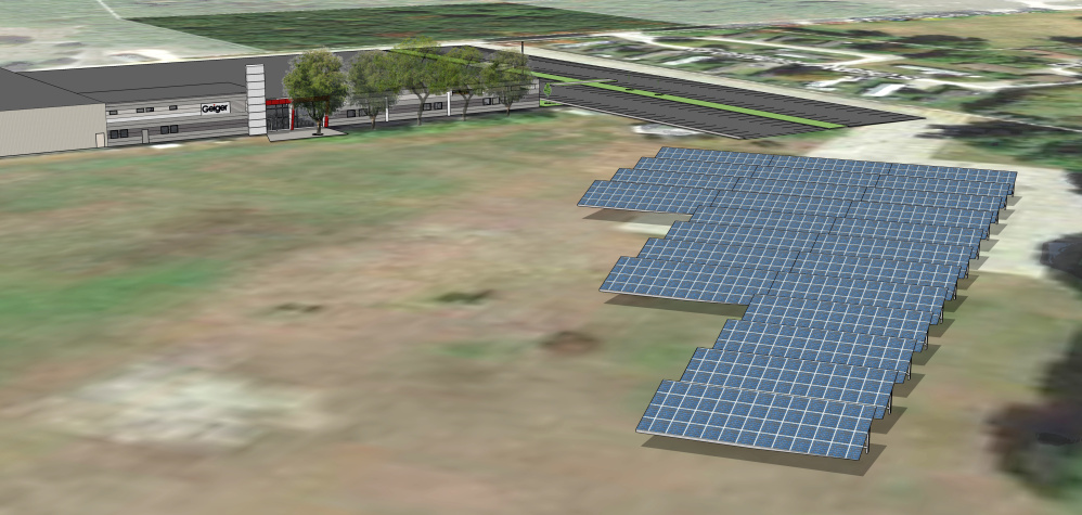 ReVision Energy of Portland will install one of the larger private solar arrays in the state, shown in this rendering, at Geiger's headquarters in Lewiston.