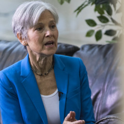 Green Party presidential candidate Jill Stein speaks to reporters before a talk at the University of Southern Maine in September. Stein has raised more than $5 million for election recounts in three states, and on Friday requested a recount in  Wisconsin.