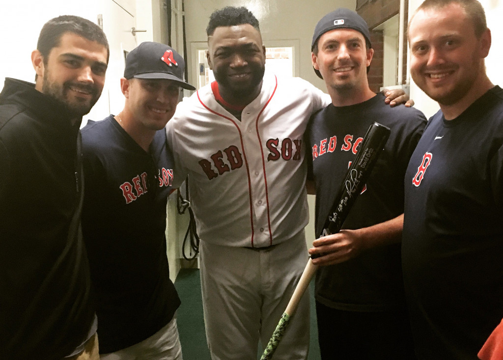 The Red Sox made a tough pitch, but Rob Jordan wasn't chasing. Instead of accepting memorabilia in exchange for the home run ball David Ortiz hit to tie Mickey Mantle on the all-time list Monday, Jordan insisted on meeting the slugger and got his wish. Pictured with Jordan (holding bat) and Ortiz are, from left, Dan Feeney, Chris Biskup and Connor Hasson. Photo courtesy Rob Jordan