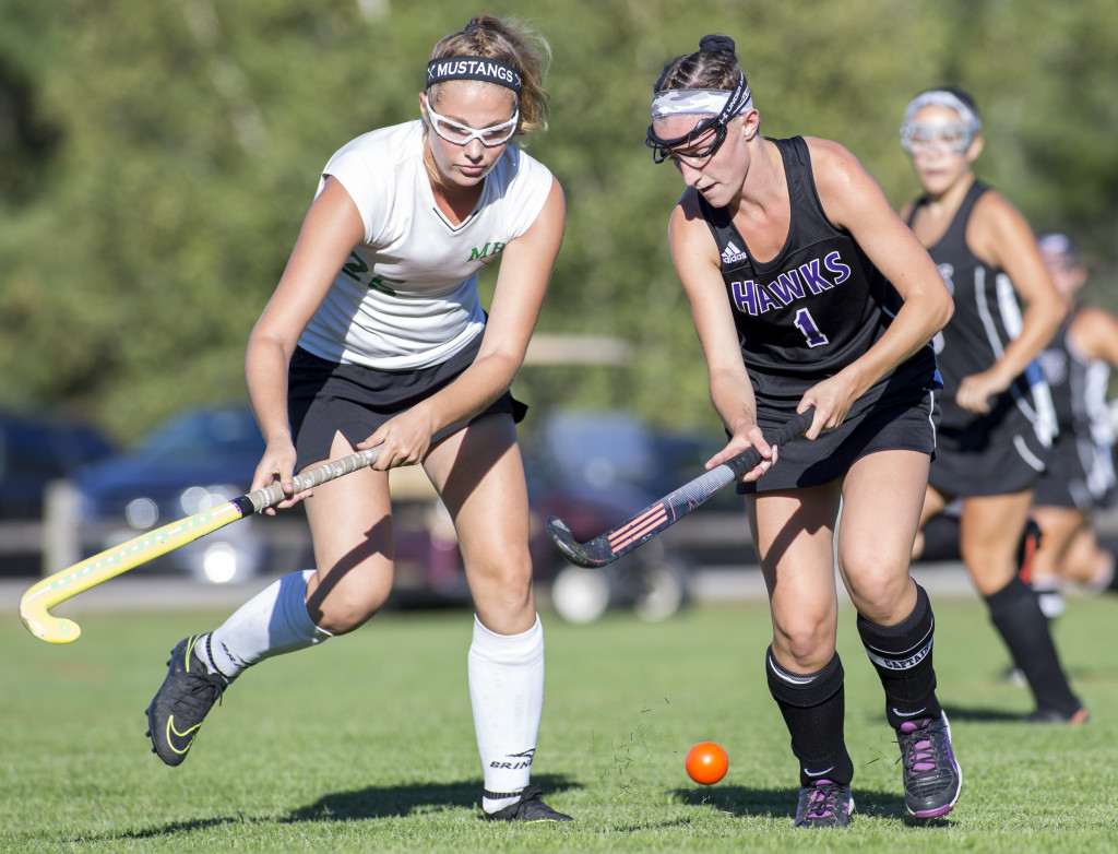Marshwood's Hannah Costin, right, runs with the ball as Massabesic's Jacklyn Bearse defends.    Brianna Soukup/Staff Photographer