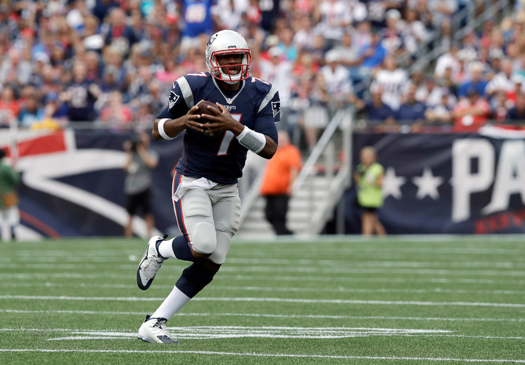 Jacoby Brissett runs against the Dolphins during the second half of Sunday's game. The rookie is in a position to make his first NFL start on Thursday night. Associated Press/Charles Krupa