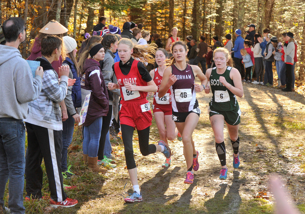 Three of the top four finishers at the Class A state meet return this season: From left, Kathrine Leckbee of Mt. Ararat (second), Serena McKenzie of South Portland (fourth) and Anna Slager of Gorham (first).