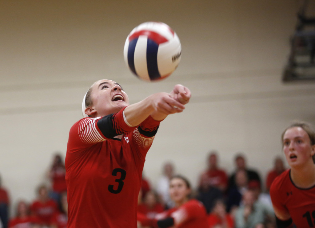SEPT. 20: Caroline Goodwin, one of the three setters who set the pace for Scarborough's offense, shows her prowess during a win that sent Yarmouth to its first loss of the season. Derek Davis/Staff Photographer