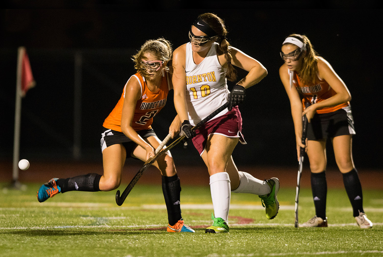 Biddeford's Paige Laverriere watches Thornton Academy forward Emma Dutremble's pass go by. Carl D. Walsh/Staff Photographer