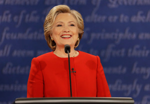 Hillary Clinton speaks at the start of Monday night's debate, the first face-to-face encounter between the major presidential candidates.
