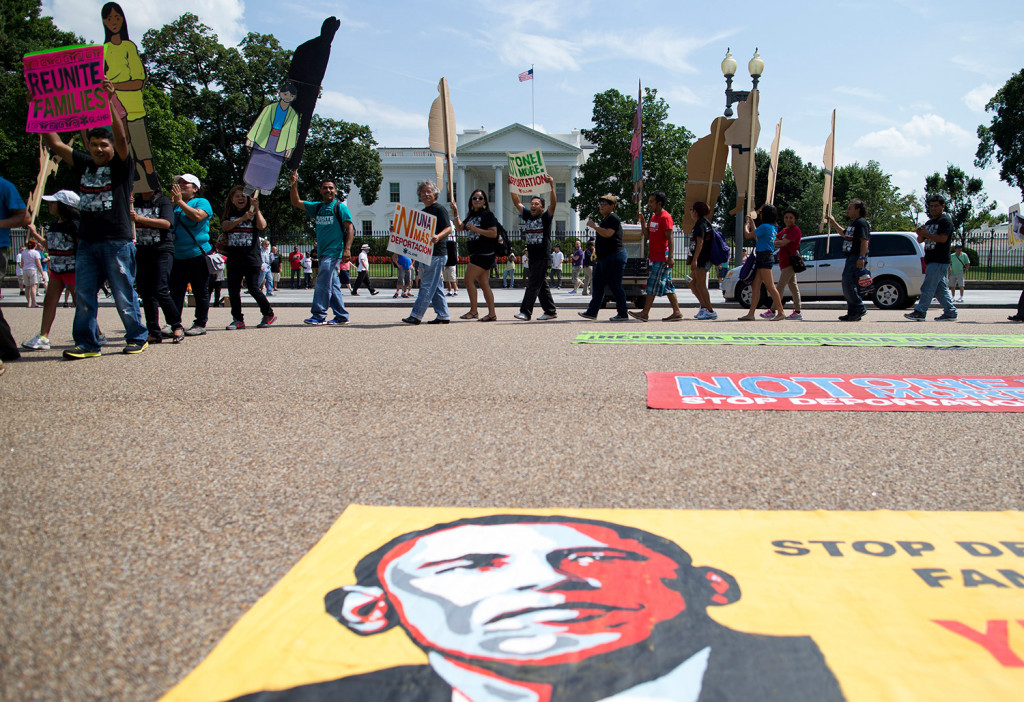 Demonstrators rally in front of the White House in Washington, in favor of immigration reform, in 2013. President Barack Obama has used his executive authority expansively, most notably on the issue of immigration, where he moved unilaterally to curb deportations for millions of immigrants in this country illegally.