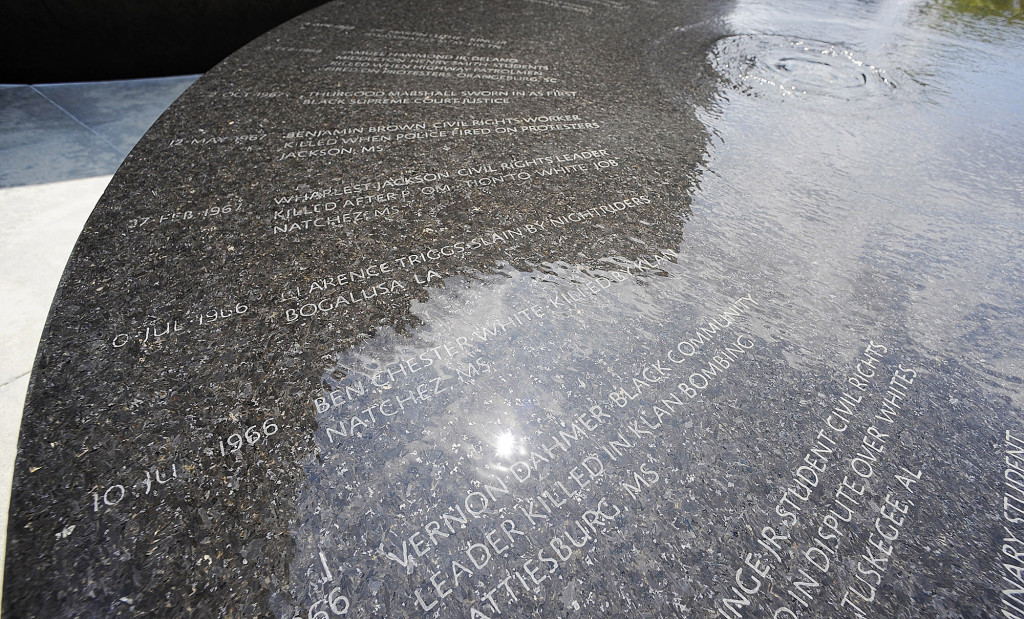Water flows over names on a memorial to people killed during the civil rights movement in Montgomery, Ala. The group that erected the marker is planning a memorial and museum to black lynching victims in the city long known as the first capital of the Confederacy.    Associated Press/Jay Reeves