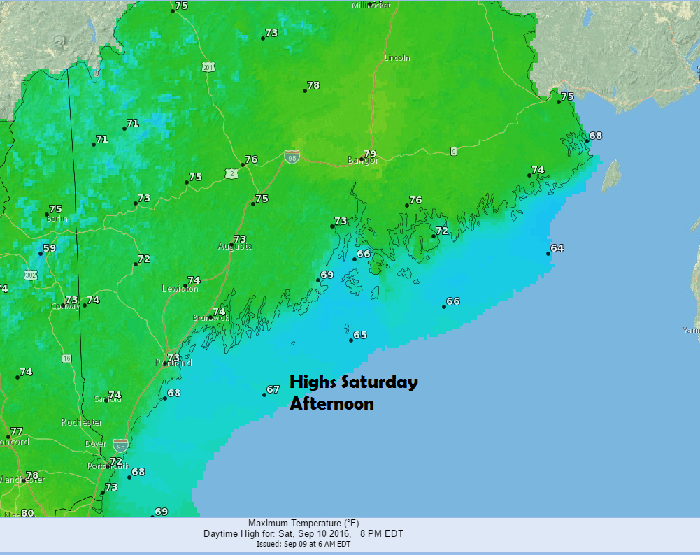 It will be cool along the coast Saturday