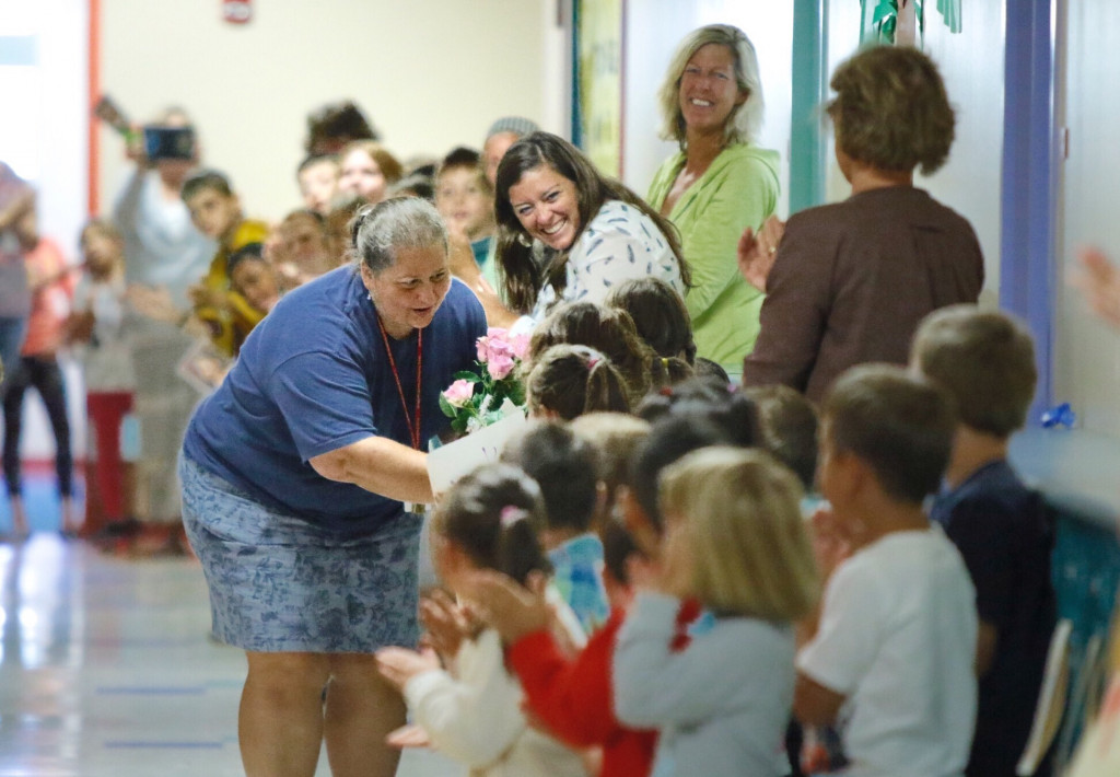 Laura Stevens, a teacher at Kaler Elementary School, got a schoolwide welcome home after receiving the Presidential Award for Excellence in Mathematics and Science Teaching from the National Science Foundation. She picked up the $10,000 award at a ceremony Thursday in Washington, D.C.
