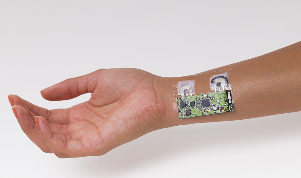 Researchers made the alcohol sensor patch from temporary-tattoo paper embedded with flexible electronics.  <em>Photo courtesy of UC San Diego Jacobs School of Engineering </em>
