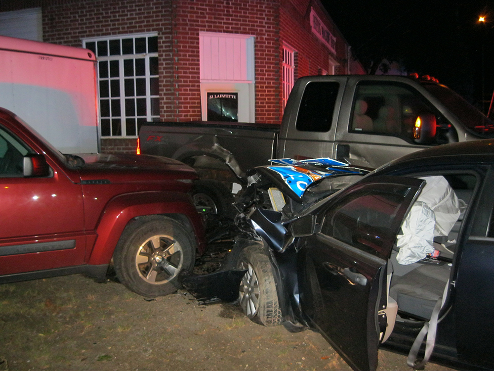 The scene of the crash in Yarmouth that followed a high-speed chase that started in Cumberland. <em>Photo courtesy of Yarmouth Police Department</em>