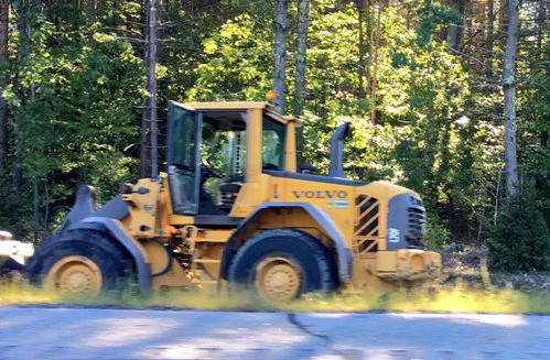 Matthew Fortin and Shawn Demarest, both 14, are accused of stealing this front-end loader in West Gardiner on Sept. 12.  and leading police on a low-speed chase. <em>Photo courtesy of WCSH</em>