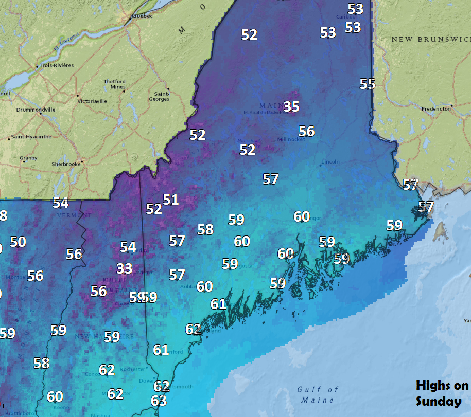 Sunday's highs will reach the lower 60s in most places