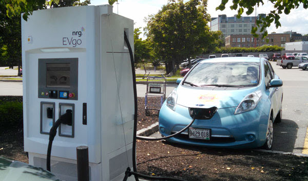 an electric car charging station at hannaford supermarket in portland
