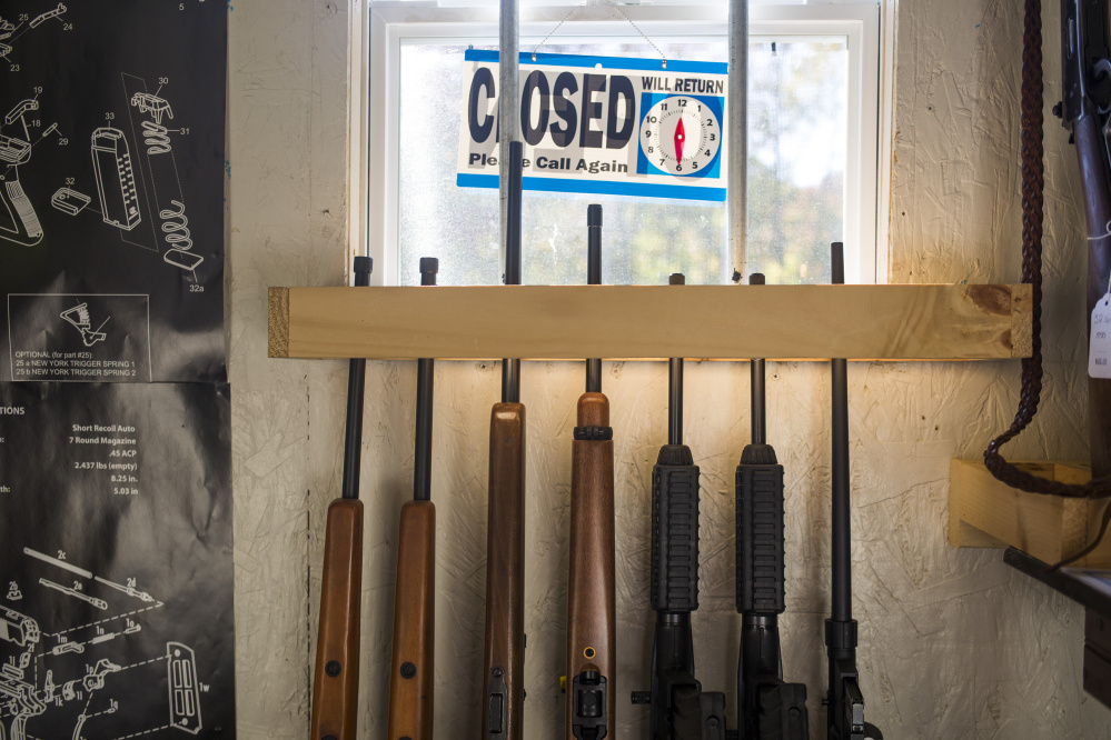 A gun rack at HF Firearms, a small, appointment-only gun shop owned by Tim Hendsbee.