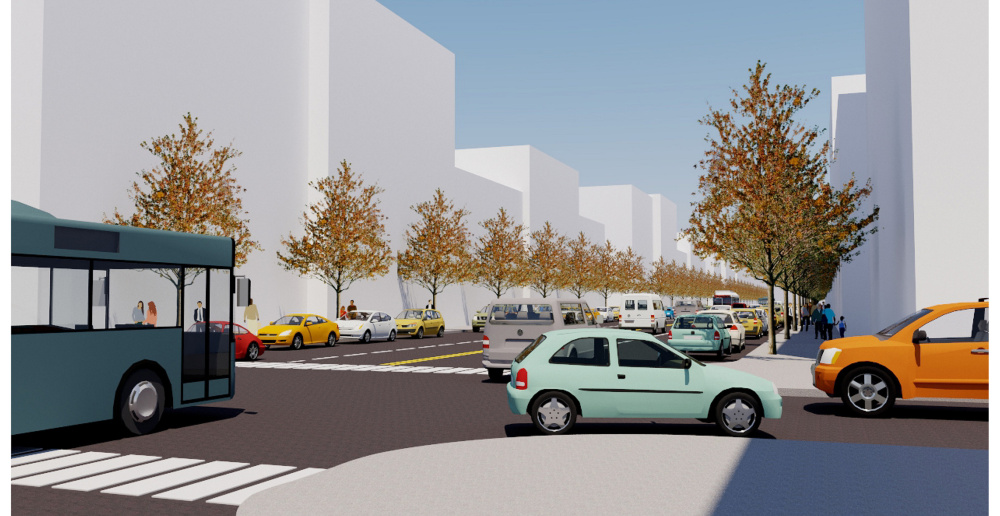 Renderings of a redesigned Forest Avenue at street level.