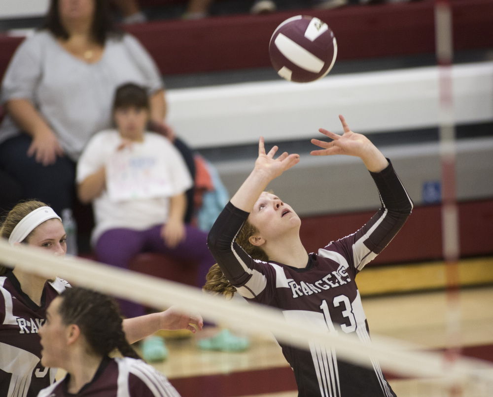 Morgan Selby of Greely sets the ball against Gorham, which became the first team to take a set from the Rangers this season.