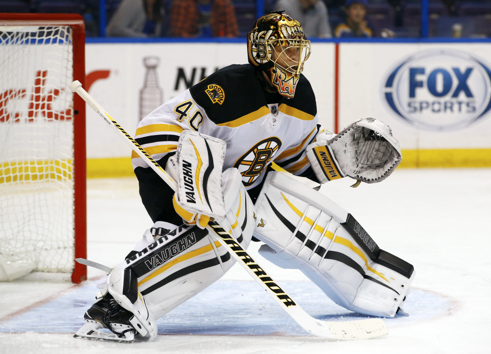 Tuukka Rask, seen in a game Oct. 22, got his third shutout of the season Sunday in Colorado, with some critical saves in a low-scoring game.