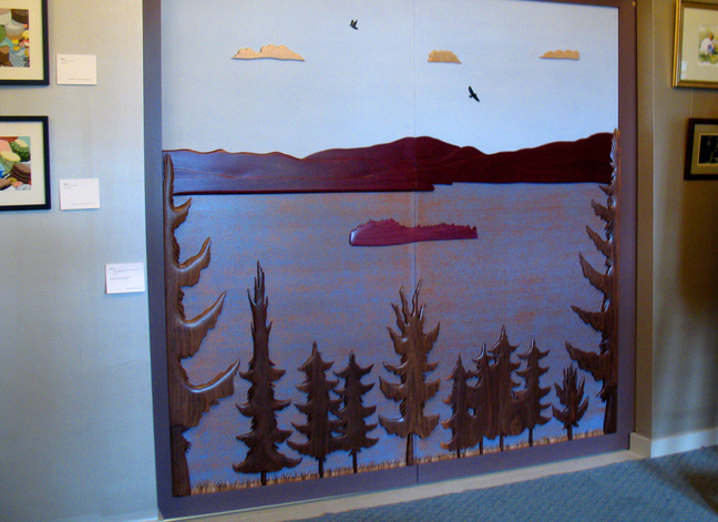 Artist Vincent Richel's finished doors adorn the New Lobby Gallery at the RFA Lakeside Theater, at 2493 Main St. in Rangeley.