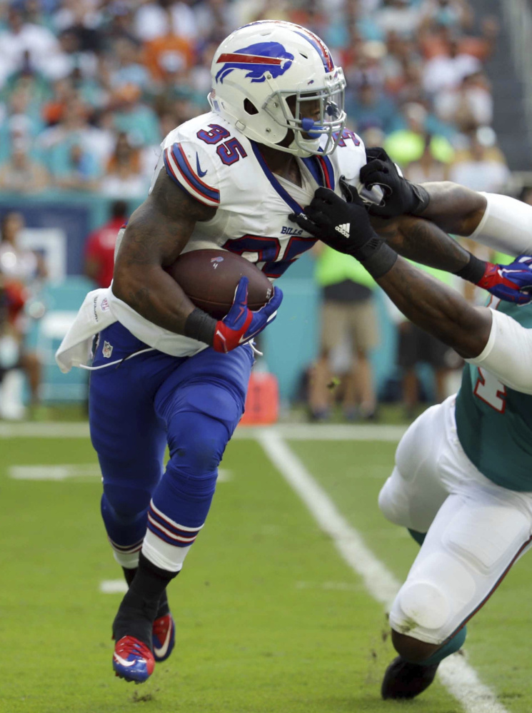 With LeSean McCoy's status in doubt because of a hamstring injury – he didn't practice Wednesday or Thursday – the Buffalo Bills are expected to center their running game on Mike Gillislee, left, and Reggie Bush when they take on the New England Patriots at home Sunday. Bush scored his first touchdown of the season last Sunday.
