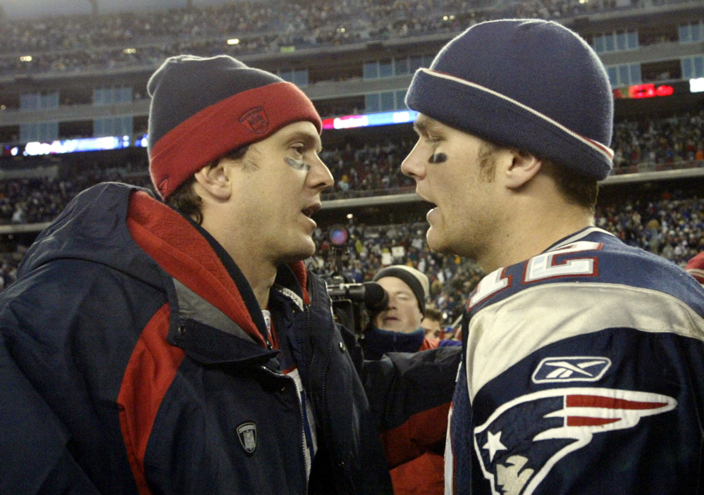 Since Tom Brady, right, succeeded Drew Bledsoe, left, as New England's starting quarterback, Brady has compiled a 25-3 record against the Bills.