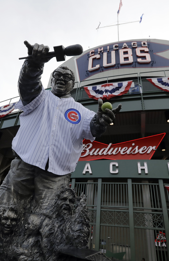 Wrigley Field, with its statue of famed Cubs broadcaster Harry Carey, is a Fall Classic venue for the first time since 1945. The Cubs lost that series in seven games to the Detroit Tigers.
