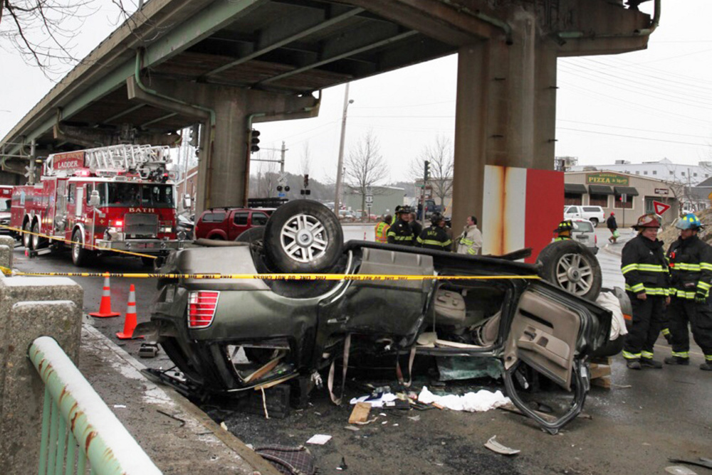 The driver of this SUV and her son were injured after the vehicle plunged off the Route 1 viaduct in Bath in April. Guardrails on the bridge hadn't been fixed despite state inspection reports indicating that repairs were needed. Earlier this month, the viaduct was closed for a seven-month reconstruction project.