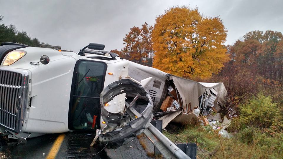 A tractor trailer hauling U.S. mail from Springfield, Mass. to Bangor overturned early Friday morning on Interstate 95 near mile marker 114 northbound in Augusta.
