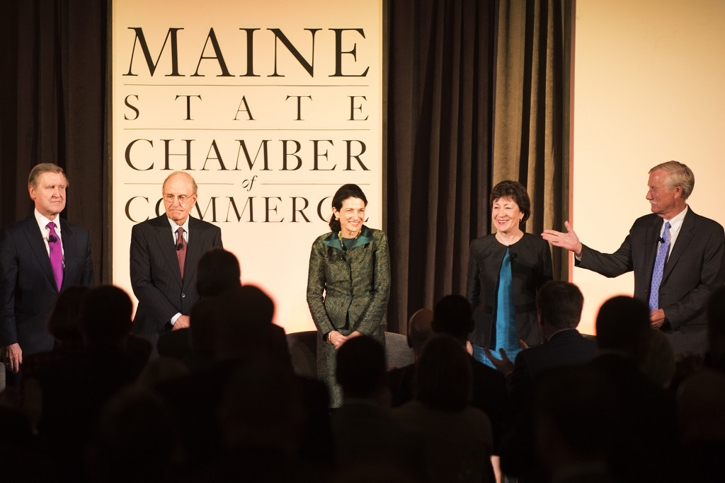 Maine's five living U.S. senators, William Cohen, George Mitchell, Olympia Snowe, Susan Collins and Angus King, gather at the Cross Insurance Center in Bangor for a  discussion of their careers and experiences representing Maine and the nation. Kevin Bennett Photo
